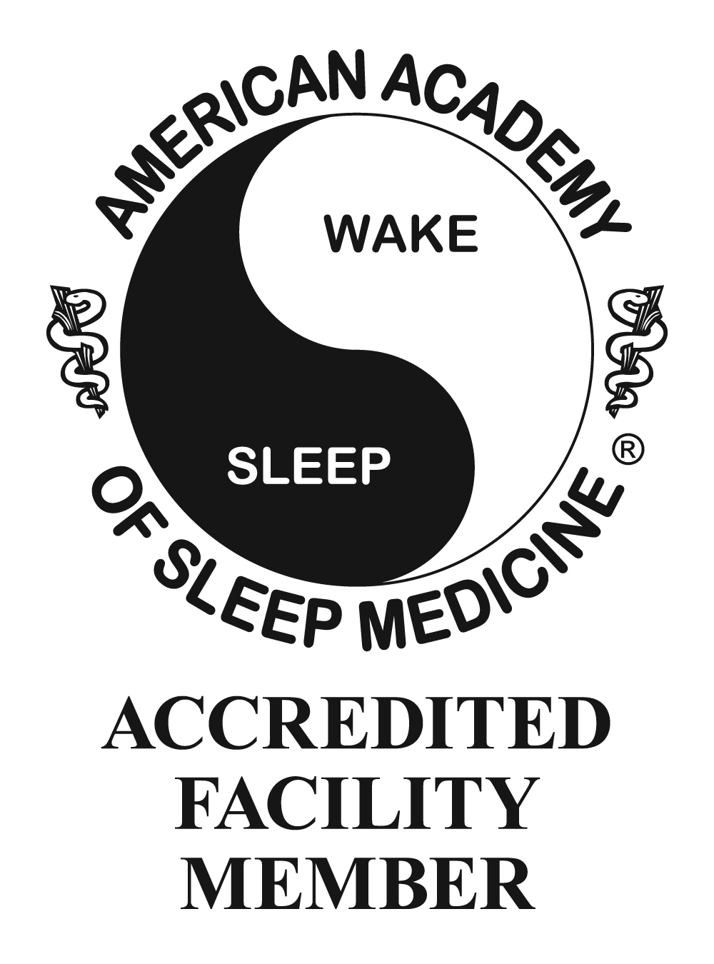 American academy of sleep medicine accredited facility member with a ying yang that says wake and sleep